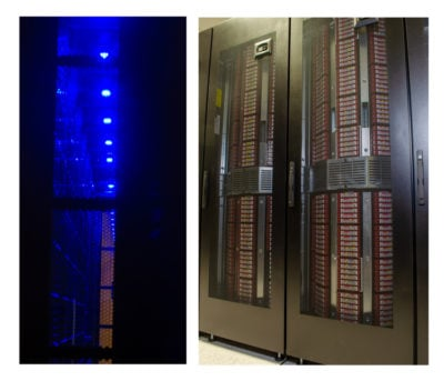 TACC's Ranch archival system includes a Quantum Scalar i6000 tape library with the StorNext archival file system that coordinates both disk and tape storage. Inside view (left) and outside (right). Credit: TACC