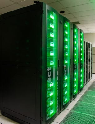 Ranch upgraded to the DDN SFA14K DCR block storage system, supplied by DataDirect Networks, which provides 30 petabytes of spinning disk cache. Credit: TACC