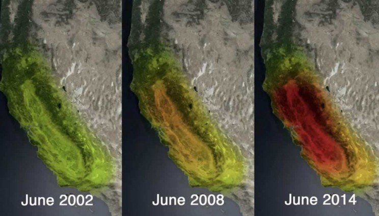 NASA satellite images show the dramatic loss of water storage in California during its most recent drought. Credit: NASA