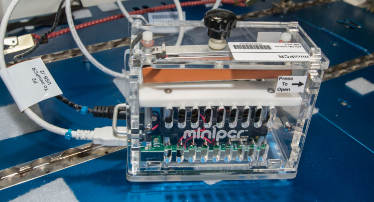 The miniPCR device, used to make multiple copies of a particular strand of DNA in space. Credits: NASA