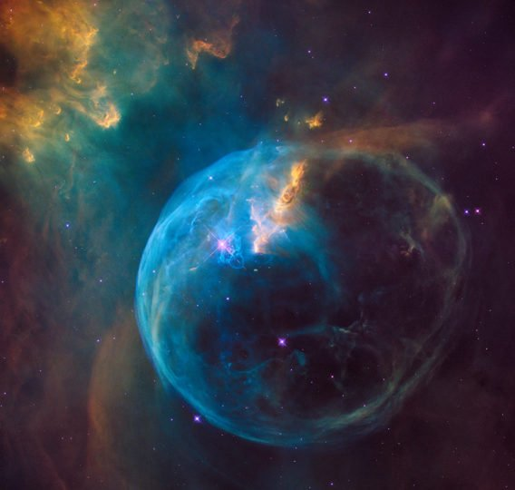 In 2016, NASA released this visible-light image of the Bubble Nebula taken by Hubble's Wide Field Camera 3. Updates to the telescope have ushered in better resolution, wider wavelength coverage, and a new generation of groundbreaking discoveries. Credits: ESA/Hubble Heritage Team (STScI/AURA) & NASA