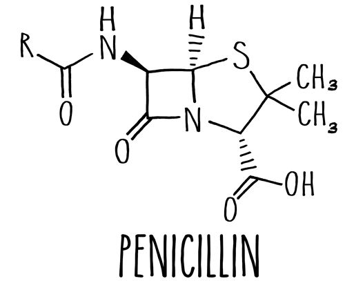 A beta-lactam ring is at the core of many antibiotics, including penicillin. Image credit: Caltech