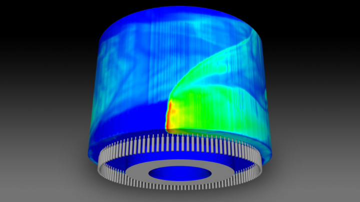 This three-dimensional numerical simulation captures complex combustion dynamics in a realistic, non-premixed, rotating detonation engine configuration. (Image by Argonne National Laboratory.)