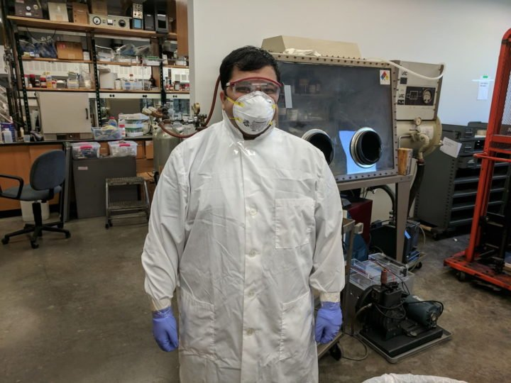 Varun Shenoy Gangoli, a research scientist at Rice University, models the proper attire for handling bulk nanomaterials for laboratory use. Gangoli and his colleagues developed a quick, clean and inexpensive method for transferring carbon nanotubes and offered it to other labs through a journal article. (Credit: Barron Research Group/Rice University)