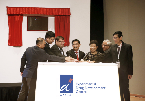 At the Launch Ceremony of Experimental Drug Development Centre. From left, Mr Lim Chuan Poh, Chairman, SFA; Mr Frederick Chew, CEO, A*STAR; Dr Damian O'Connell, CEO, EDDC; Mr Heng Swee Keat, Deputy Prime Minister And Minister For Finance; Ms Chan Lai Fung, Chairman, A*STAR and PS (NRD); Dr William Chin, Member, A*STAR Board, and Chairman, EDDC Governing Board; and Prof Tan Chorh Chuan, Chief Health Scientist, MOH. Image credit: A*STAR