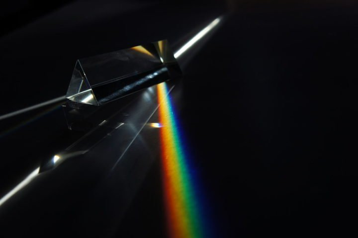 Dispersion of light (photons) by a prism. Image credit: Kelvinsong via Wikimedia, CC0 Public Domain