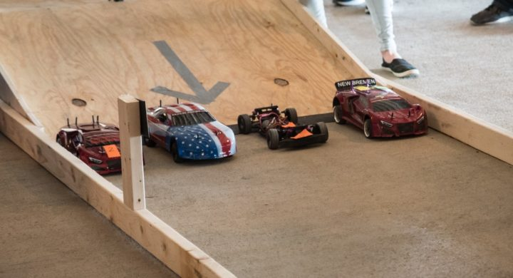 Remote-controlled (RC) cars are lined up at the starting line. Image credit: U.S. Air Force /Richard Eldridge via wpafb.af.mil (Public Domain)