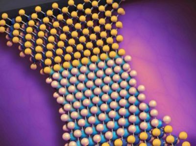 Artist's rendering of a 2D material undergoing phase change using a transistor-scale platform developed in the lab of Stephen Wu, assistant professor of electrical and computer engineering and of physics. (University of Rochester illustration / Michael Osadciw)
