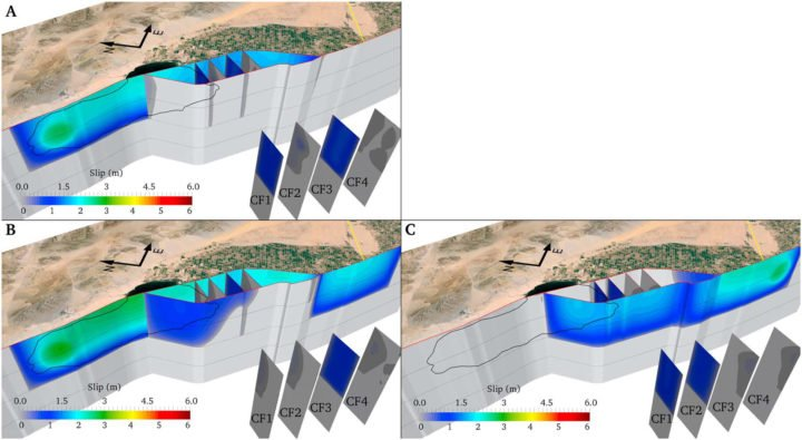 Example figure from the paper showing different patterns of interaction between main faults and cross faults as evidenced by the final fault slip. Rupture with cross faults prestressed at a higher level than the main faults. Left panels show models with nucleation to the north (N2S propagation) while right panel show nucleation to the south (S2N propagation). Image credit: Christodoulos Kyriakopoulos, UC Riverside.