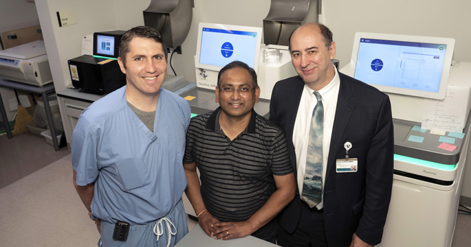 From left, Alexander Gelbard, MD, Suman Das, PhD, and Simon Mallal, MBBS, are among a team of researchers searching for the cause of a rare airway disease that almost exclusively affects adult, Caucasian women. (photo by Joe Howell, Vanderbilt University)