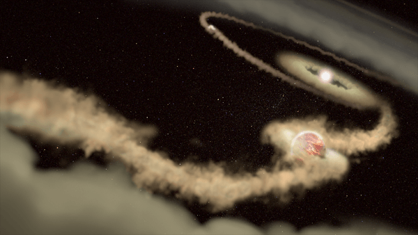 Artist's illustration of exoplanets PDS 70 b and c