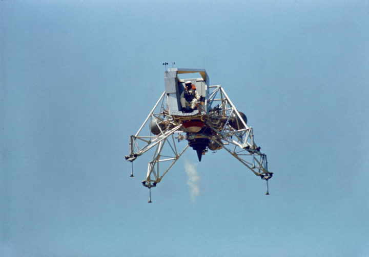 Armstrong flying the LLTV-2 (NASA 951) in June 1969