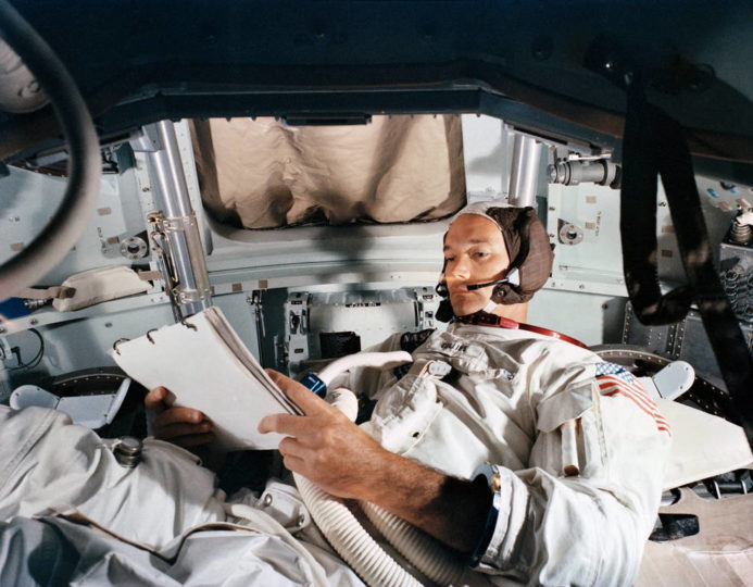 Collins in the CM simulator at KSC on June 19.