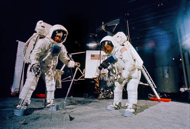 Apollo 11 astronauts Aldrin (left) and Armstrong during a training session for their lunar EVA at MSC on June 5.