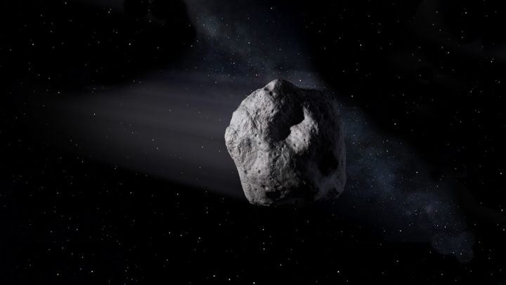 An illustration of an asteroid in space. Credits: NASA/JPL/Caltech