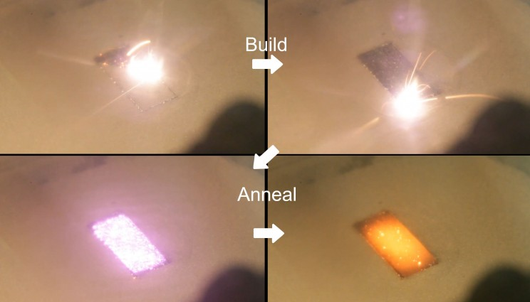 This image shows the process of building and annealing a rectangular block of stainless steel 316L. The first and second panels are the focused scanning laser melting the powder layer into the underlying part. The third panel is the diode turning on and illuminating the surface of the part to heat and anneal it. The last panel is right after the diode turns off, showing the block is at high temperature (>950°C).
