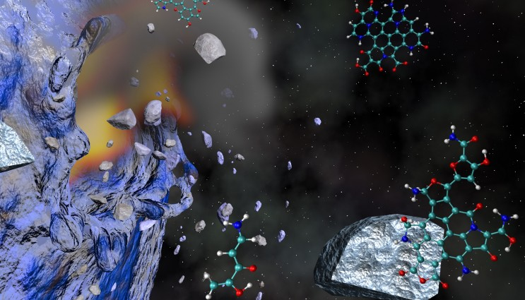 Cometary impacts can produce complex carbon-rich prebiotic materials from simple organic precursors such as the amino acid glycine. Image by Liam Kraus/LLNL