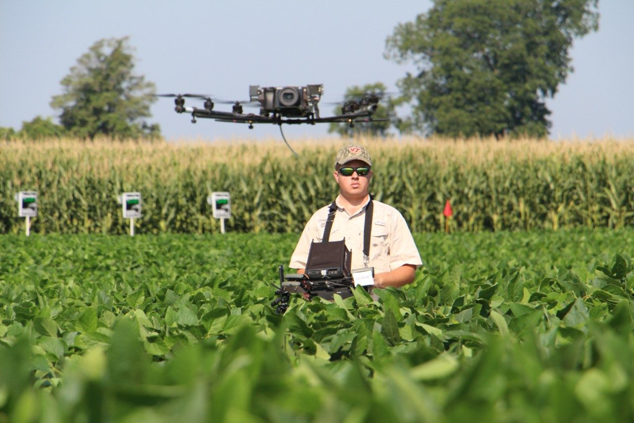 Eastern Virginia AREC Superintendent Joseph Oakes' research uses drones to boost yields is part of the SmartFarm Innovation Network.