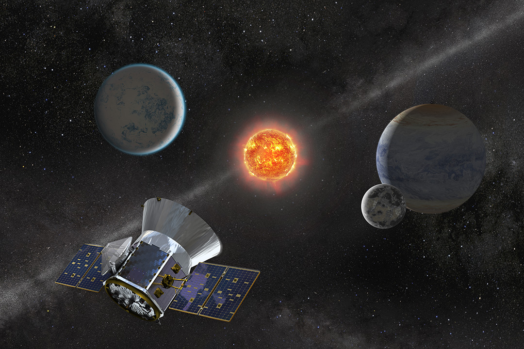 Illustration of NASA's Transiting Exoplanet Survey Satellite. Credit: NASA's Goddard Space Flight Center