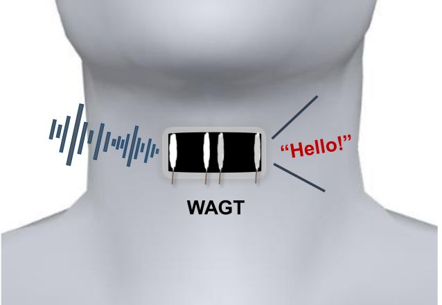 "A wearable artificial graphene throat, abbreviated here as ""WAGT,"" can transform human throat movements into different sounds with training of the wearer. Image credit: Adapted from ACS Nano 2019, 10.1021/acsnano.9b03218 (cropped image)"