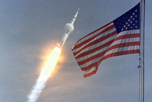 The Apollo 11 Saturn V rocket on its journey to the Moon in 1969. Credits: NASA