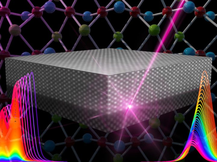 X-rays (pink) excite electrons in a silicon wafer with a thin film of strontium titanate, a shiny material once marketed as a diamond substitute. Detailed analysis of the resulting spectra for the silicon (left) and strontium titanate (right) led to the discovery of new previously unknown electric fields. Image credit: Nathan Johnson/PNNL
