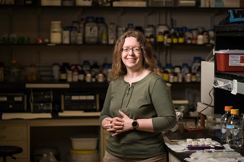Anne Meyer, professor of biology, and her colleagues have developed a novel approach to producing graphene in the lab. (University of Rochester photo / J. Adam Fenster)