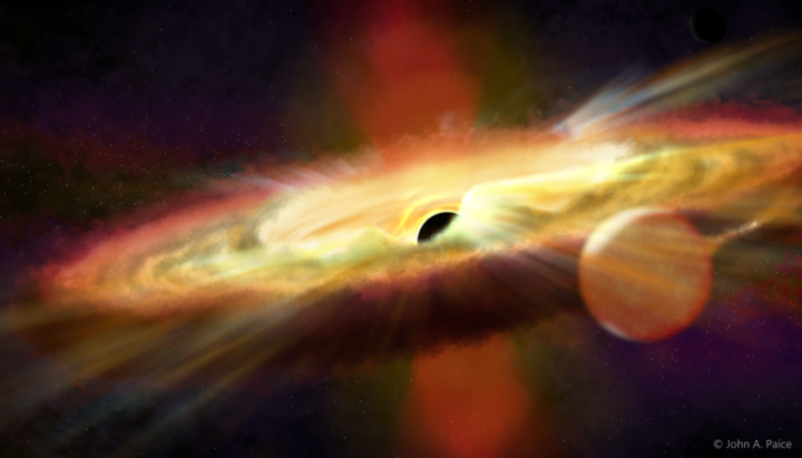 Artist's impression of the black hole Swift J1357.2-0933. Image credit: John Paice / University of Southampton / Inter-University Centre for Astronomy & Astrophysics in Pune, India, CC BY 4.0