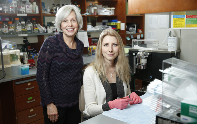 Ann Richmond, PhD, left, Anna Vilgelm, MD, PhD, and colleagues are investigating a possible second-line therapy for melanoma. (photo by John Russell/Vanderbilt University)