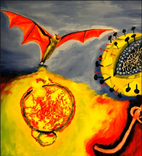 The cover art (acrylic on canvas) by Armando Pacheco, featured in the latest edition of the Journal of Virology, which published a study by Hector Aguilar-Carreno on how two lethal viruses (Nipah and Hendra) are more potent when their proteins are combined. The fruit bat is the natural host for the viruses. Credit: Armando Pacheco, Cornell Institute of Biotechnology
