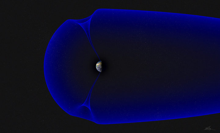 Earth's magnetic bubble, called the magnetosphere, is illustrated in blue. The magnetosphere provides natural protection against space radiation, deflecting most charged solar particles from Earth. Credits: Andøya Space Center/Trond Abrahamsen