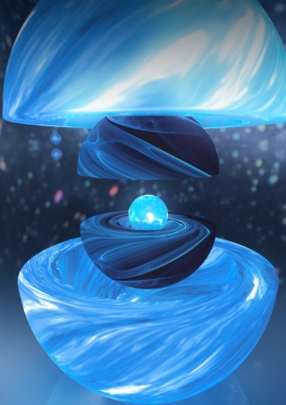 Artwork by Carl Knox, OzGrav ARC Centre of Excellence for Gravitational Wave Discovery. Artist illustration of the three neutron star components revealed during the 2016 Vela glitch'.