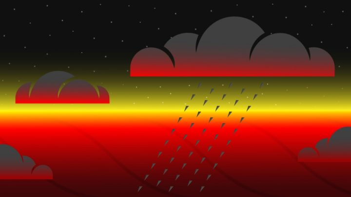 Schematic of clouds on the night side of a hot Jupiter exoplanet. The underlying atmosphere is over 800 C, hot enough to vaporize rocks. Atmospheric motion from the deep atmosphere or from the hotter dayside bring the rock vapour to cooler regions, where it condenses into clouds, and possibly rains down into the atmosphere below. These clouds of condensed rock block outgoing thermal radiation, making the planet's nightside appear relatively cool from space. Image credit: McGill University