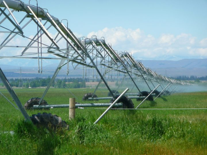 An example of an irrigation system used to keep crops healthy. Image credit: MemoryCatcher