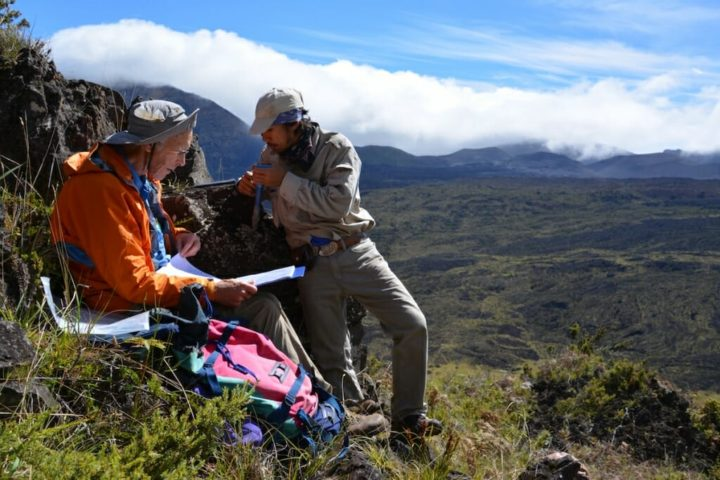 Study co-author Rob Coe and Trevor Duarte orienting cores from a lava flow site recording the Matuyama-Brunhes magnetic polarity reversal in Haleakala National Park, Hawaii, in 2015. Image credit: Brad Singer/University of Wisconsin-Madison