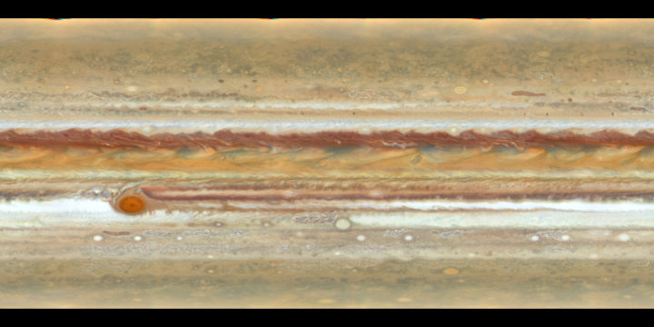 This Hubble Space Telescope image highlights the distinct bands of roiling clouds that are characteristic of Jupiter's atmosphere. The view represents a stretched-out map of the entire planet. Researchers combined several Hubble exposures to create this flat map, which excludes the polar regions (above 80 degrees latitude).<br /> Credits: NASA, ESA, A. Simon (Goddard Space Flight Center) and M.H. Wong (University of California, Berkeley)