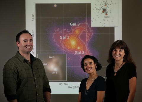 UCR astronomers Remington Sexton (left), Christina Manzano-King (center), and Gabriela Canalizo. (UCR/Stan Lim)