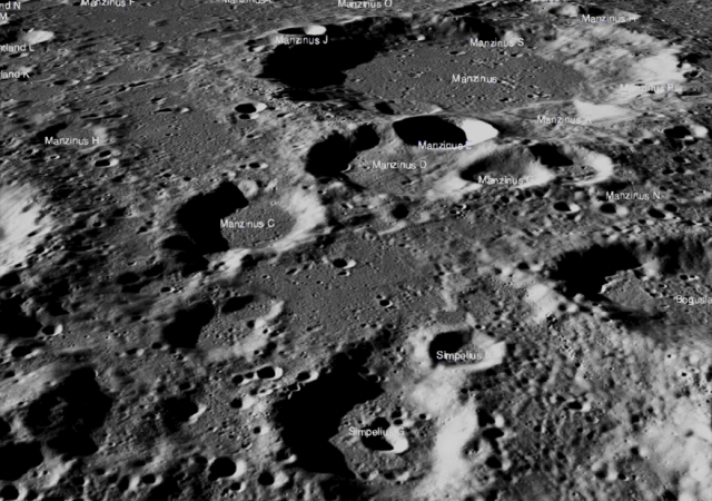 The Chandrayaan-2 lander, Vikram, attempted a landing Sept. 7 (Sept. 6 in the United States), on a small patch of lunar highland smooth plains between Simpelius N and Manzinus C craters. Vikram had a hard landing and the precise location of the spacecraft in the lunar highlands has yet to be determined. The scene above was captured from a Lunar Reconnaissance Orbiter Camera (LROC) Quickmap fly-around of the targeted landing site image width is about 150 kilometers across the center. Credits: NASA/Goddard/Arizona State University