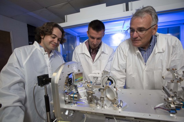 """Peter Nyholm's mentors, George Swadling (left) and Phil Datte (right), describe him as """"the epitome of what we want in a summer student."""" Photo by Jason Laurea/LLNL"""