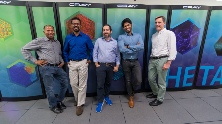 This team took steps in physics, computer science and materials science in order to design and test a new computer chip that can perform and adapt well on a minuscule amount of power. From left to right: Anil Mane, Prasanna Balaprakash, Angel Yanguas-Gil, Sandeep Madireddy and Jeff Elam. (Image by Argonne National Laboratory.)