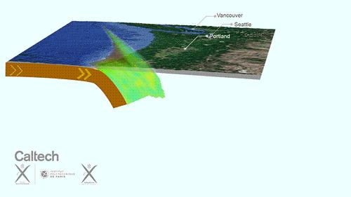 GPS stations reveal activity beneath Cascadia where the oceanic floor slides beneath North America. The plate interface is locked at shallow depths (the shaded area), but we see recurring slow-slip events (in blue) that unzip the plate interface, generating tremors (the black dots). Image credit: Jean-Philippe Avouac/Caltech