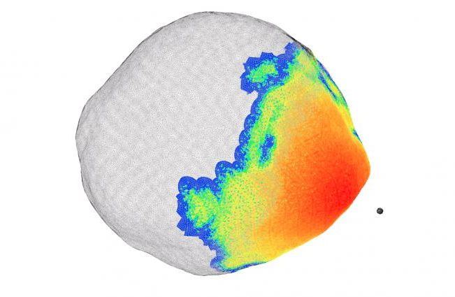 A supercomputer simulation by LLNL physicist Mike Owen illustrates how a 1 megaton nuclear detonation could impart enough energy onto the surface of the massive asteroid 101955 Bennu to nudge it off course, if it were to be on an Earthbound trajectory. The black dot is the simulated detonation location, around 100 meters from the surface at the equator. The colors show where X-rays would heat a thin layer of surface material. Blue areas would be heated, but not enough to eject material. All other colored areas would deposit enough energy to eject surface material and alter the asteroid's velocity and trajectory.