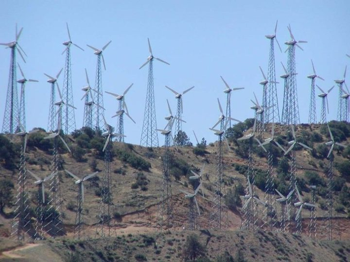 A wind farm in the Tehachapi mountains of California. Image credit: Stam Shebs via NSF