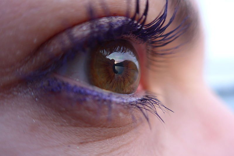 Reflection of sunset in an eye contact lense. Image credit: SucreRouge via Wikimedia, CC-BY-SA-4.0