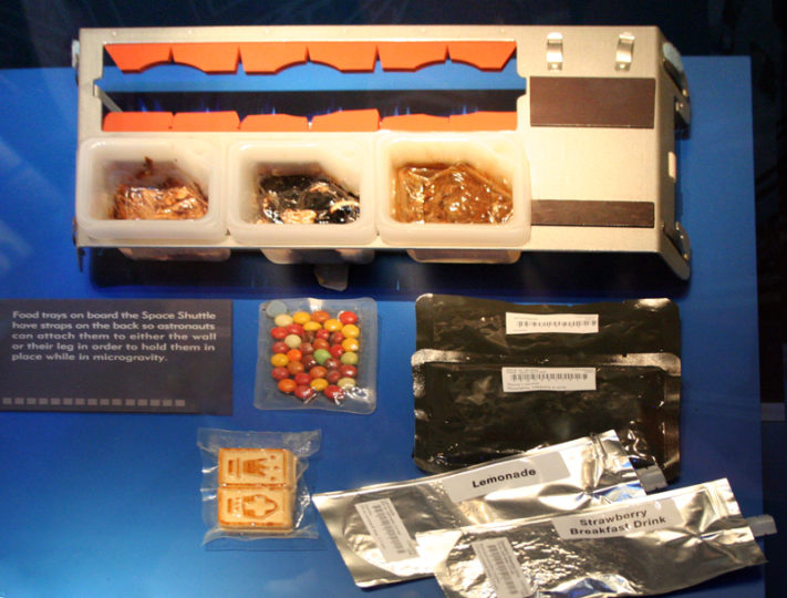 Galley tray used aboard the Space Shuttle. Image taken at the Astronaut Hall of Fame in Titusville, Florida.