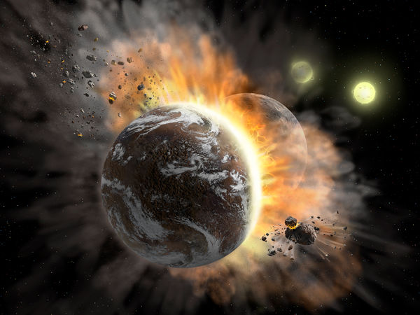Illustration of two rocky exoplanets colliding and creating dust
