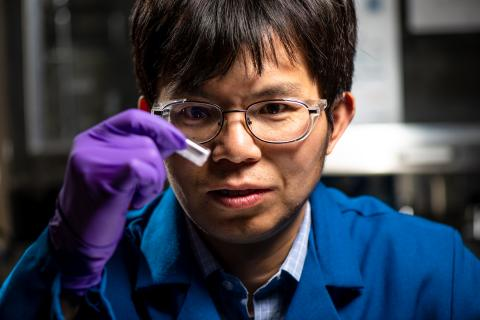 Beginning with a solid material that mimics naturally occurring proteins, PNNL materials scientist Chun-Long Chen and his colleagues create gel-like materials that contain millions of tiny nanotubes that could deliver targeted cancer treatment directly to tumor cells. Image credit: PNNL