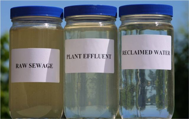 Reclaimed water shown at various stages of treatment, Department of Ecology, State of Washington. Image credit: Wateralex via Wikimedia, CC BY-SA 4.0