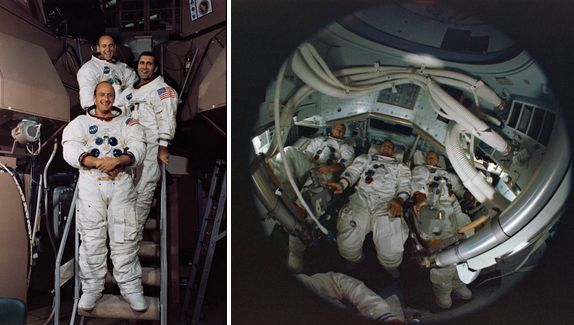 Left: Apollo 12 astronauts (front to back) Conrad, Gordon, and Bean stand outside the Command Module simulator. Right: Apollo 12 astronauts (left to right) Bean, Gordon, and Conrad seen through a fish-eye lens inside the Command Module simulator. Image credits: NASA