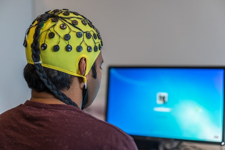 Brain-computer interfaces (BCI) work on the principle that measurable changes in electrical brain activity occur just by thinking about performing a task. Signals can be read by an EEG (electroencephalography) and converted into control signals via a machine learning system. Image credit: ulrichw via Pixabay (Free Pixabay licence)